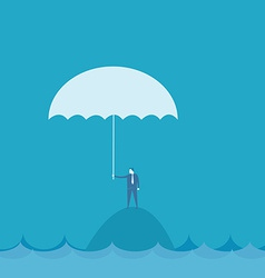 Businessman with umbrella riskconcept vector
