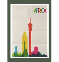 Travel Africa landmarks skyline vintage poster vector image