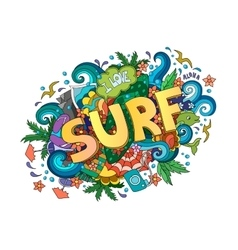 Surf lettering design hand-drawn t-shirt vector