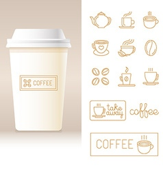 Realistic coffee to go cup template vector