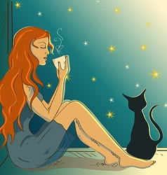 With beautiful girl sitting on a windowsill vector