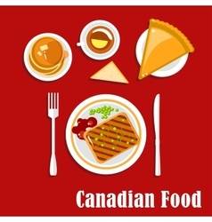 Canadian cuisine breakfast food and drink vector