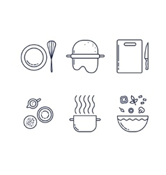 Kitchen line icons set vector