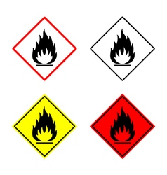 Flammable sign set vector