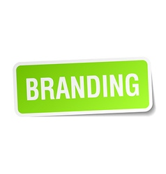 Branding green square sticker on white background vector