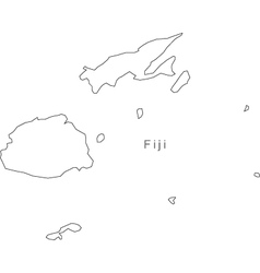 Black white fiji outline map vector