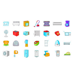 appliances icon set cartoon style vector image
