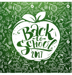 back to school chalkboard with apple vector image vector image