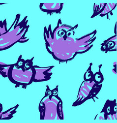background with sketchy owls seamless pattern vector image vector image