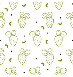 cactus simple green line style pattern vector image vector image