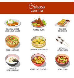 Chinese cuisine traditional dishes flat vector