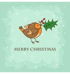 Christmas card with bird vector