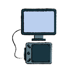 Computer with graphic tablet icon vector
