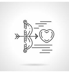 Cupids arrow shoots heart flat line icon vector image vector image