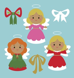 Cute holiday angels characters vector image