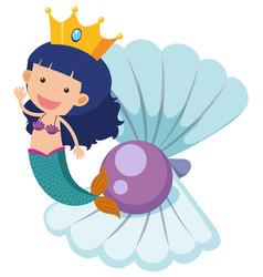 Cute mermaid and purple pearl vector