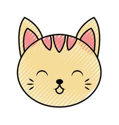 Cute scribble cat face cartoon vector
