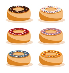 donuts with different tastes design set vector image