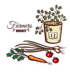 farmers market green vegetables vector image vector image