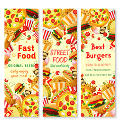 Fast food banner with frame of lunch meal drinks vector