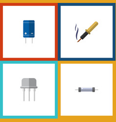 Flat icon device set of resist transistor repair vector