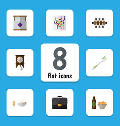 Flat icon life set of clock mattress briefcase vector