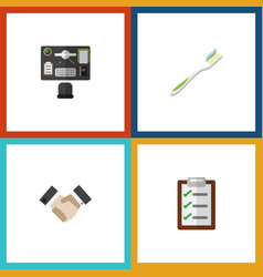 Flat icon life set of questionnaire partnership vector
