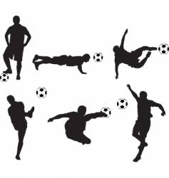 football silhouette set vector image vector image