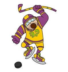 Funny Hockey player with stick and puck vector image