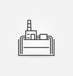 Geothermal power plant line icon vector