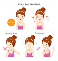 Girl with acne facial skin problems and treatment vector