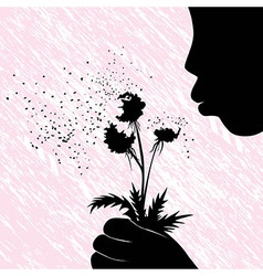 Girl women or kid blowing on dandelion flower vector