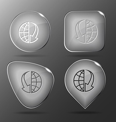 Globe and array down glass buttons vector