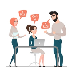 Group of happy business people project discussion vector