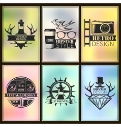 Hipster post card set vector