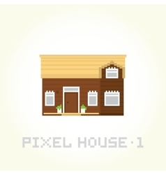 Isolated house in pixel art style 1 vector image vector image