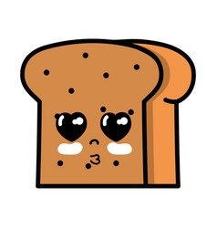 Kawaii cute tender slice bread food vector