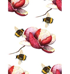 Magnolia and Bee pattern vector image vector image