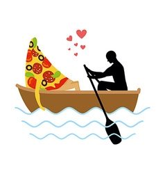 Man and slice of pizza and ride in boat Lovers of vector image