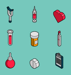 Medical flat outline isometric set vector