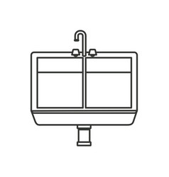 Monochrome silhouette of kitchen sink vector
