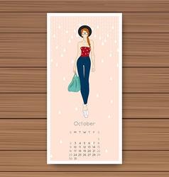 October hand drawn fashion models calendar 2016 vector