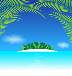 Paradise tropical island with coconut leaves vector