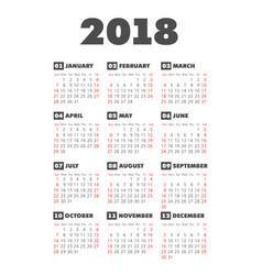 pocket 2018 year calendar vector image
