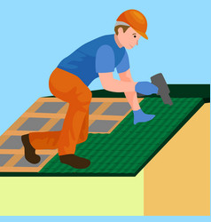 Roof construction worker repair home build vector