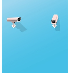 Security camera watching another security camera vector