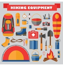 Set of hiking and camping equipment vector