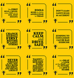 Set of motivational warning quotes about vector