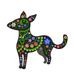 Silhouette of dog with ethnic pattern vector