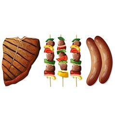 Steak and sausages on white background vector image vector image